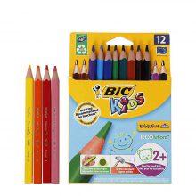 مداد رنگی بیک ۱۲ رنگ ضخیم سه گوش – Bic Evolution Triangle